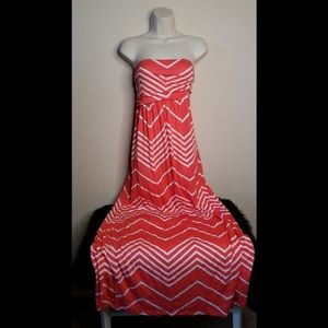 Design History Chevron Strapless Maxi Dress
